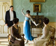 Here's a look at the Edwardian-inspired location of Highclere Castle, and the fictional Downton Abbey interiors. Lots more Downton Abbey on our website. Downton Abbey Saison 1, Downton Abbey Fashion, Sybil Downton, Jane Austen, Matthew Crawley, Paul Poiret, Sandra Bullock, New Frock, Lady Sybil