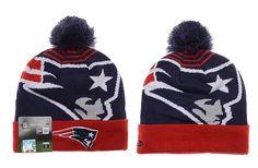 Mens / Womens New England Patriots New Era NFL Fashion Sports Logo Whiz Cuffed Knit Pom Beanie Hat - Navy / Red