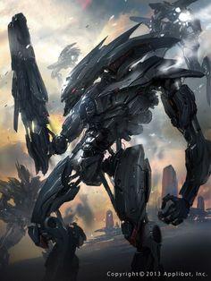 Black Griffin by jcircle Futuristic Armour, Futuristic Art, Robot Concept Art, Armor Concept, Dark Fantasy Art, Sci Fi Fantasy, Gundam, Nail Bat, Mode Cyberpunk
