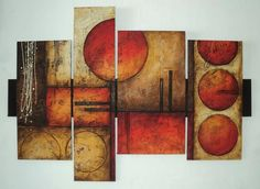 put WALNUT in between the paintings and also behind! Abstract Painting Techniques, Texture Painting, Abstract Canvas, Canvas Wall Art, Simple Canvas Paintings, Modern Paintings, Circle Art, Geometric Art, Metal Wall Art