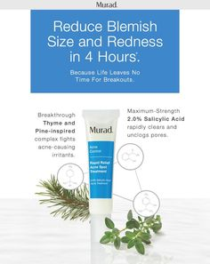 Let the countdown to clearer skin begin. Murad's new Rapid Relief Acne Spot Treatment uses a Thyme and Pine-inspired complex to fight acne-causing irritants, while maximum strength 2% Salicylic Acid unclogs pores. Use this breakthrough acne treatment with or without makeup, day or night, to reduce blemish size and redness within 4 hours. Add this to your clear skin squad to treat the occasional pimple or as your ongoing breakout treatment, because life leaves no time for breakouts.