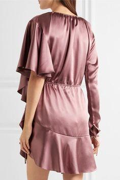 Juan Carlos Obando - Asymmetric Ruffled Silk-satin Mini Dress - Antique rose - US6