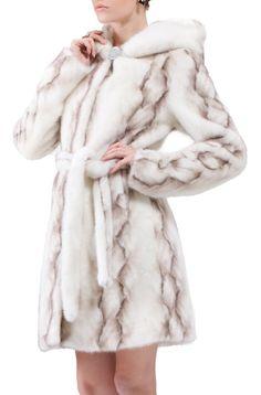 FAUX MINK FUR WHITE FULL LENGTH COAT NEW WOMEN FASHION HOODED FLUFFY OVERCOAT