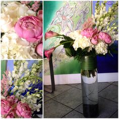 pink celosia was the perfect accent to this! pink peony, pink calla lilies, white hydrangea, white snapdragons, and white dendrobium orchids.