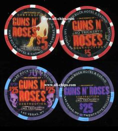 New $5 and $25  Hard Rock Chips out and in stock for the 2014 Guns N' Roses Residency at the Hard Rock in Vegas.  Get them here http://www.all-chips.com/ChipDetail.php?ChipID=17613 and here http://www.all-chips.com/ChipDetail.php?ChipID=17614  Sure to be a sell out!