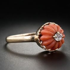 Carved coral antique ring. Giving me lots of ideas for the future...