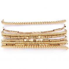 Les trouvailles d'Elsa - Manchette Bracelet Perles Dorées - Fabriqué France