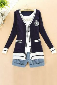 Ivy League Crested Knit Cardigan Sweater in Preppy Navy