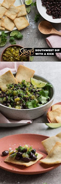 Green Chile Black Bean Salsa by James Beard Award-winning chef Hugh Acheson. Enjoy this fast fresh bean salsa in inspired by Stacy's® and the flavors of Phoenix with James Beard Foundation's Taste America Tour. Mexican Food Recipes, Vegetarian Recipes, Cooking Recipes, Healthy Recipes, Tex Mex, Great Recipes, Favorite Recipes, Healthy Snacks, Healthy Eating