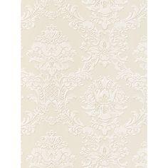Buy Galerie Elegant Damask Vinyl Wallpaper from our Wallpaper range at John Lewis & Partners. Wallpaper Online, Vinyl Wallpaper, Skeleton Decorations, The Bell Jar, White Damask, Gold Wood, Black Walls, Dark Wood, Accent Colors