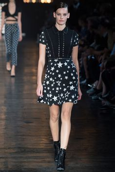 Diesel Black Gold | Spring 2015 Ready-to-Wear | 14 Monochrome star-printed short sleeve mini dress
