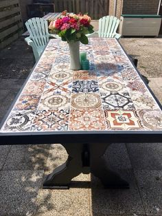 Tile Patio Table, Tiled Coffee Table, Tile Tables, Patio Tiles, Garden Table, Mosaic Table Tops, Dining Table, Diy Outdoor Table, Diy Outdoor Furniture