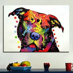 Happiness Pitbull Warrior Canvas Print / Canvas Art by Dean Russo