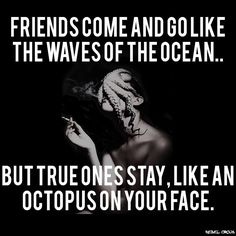 Friends come and go like the waves of the ocean.. but the true ones stay, like an octopus on your face.