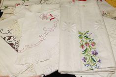 A plethora of techniques including stem stitching, satin stitching, cross-stitching, Spanish blackwork, hardanger, crochet appliqué, etc.
