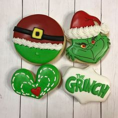 I'm going to be a and not do a pop-up shop tomorrow. I was originally planning to have some cookies available to pick up this… Grinch Cake, Grinch Cookies, Cute Christmas Cookies, Grinch Christmas Party, Iced Cookies, Birthday Cookies, Holiday Cookies, Cupcake Cookies, Christmas Desserts