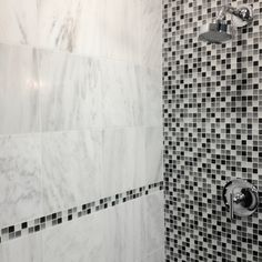 Modern Shower: Marble & a Glass Mosaic Wall
