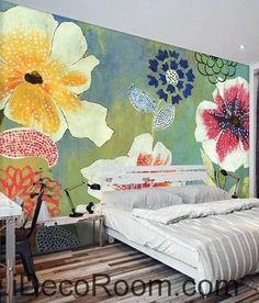 A beautiful fresh blue sky blooming poppy flower hydrangea pattern oil painting effect wall art wall decor mural wallpaper wall IDCWP-000201