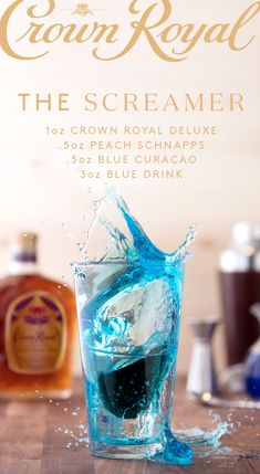 Stand up and make some noise for your team this March! A true fan reps their school no matter what, so Crown your squad and raise a glass of The Screamer. Combine 1 oz Crown Royal Deluxe, peach schnapps, and oz blue curacao in a shot glass. Blue Drinks, Summer Drinks, Mixed Drinks, Party Drinks, Cocktail Drinks, Fruity Cocktails, Bourbon Drinks, Drinks Alcohol Recipes, Alcoholic Drinks