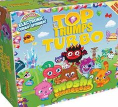 Moshi Monsters Top Trumps Turbo Top Trumps Turbo has been moshified! Featuring six exclusive packs containing the best of the best from the Moshi Monsters world. Play with the Top Moshlings. discover Moshi Foods. learn more about yo http://www.comparestoreprices.co.uk/board-games/moshi-monsters-top-trumps-turbo.asp
