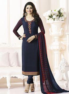 Prachi Desai Navy Blue Crepe Churidar Salwar Suit 92324
