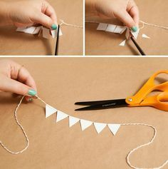 Adorable simple DIY bunting cake topper using Duct Tape and non-stick scissors!