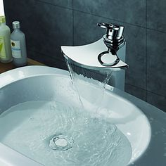Chrome Finish Single Handle Waterfall Bathroom Sink Faucet - USD $ 139.99