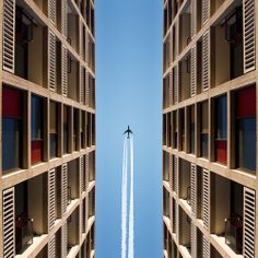 Park Hill Flats, Sheffield. [Airplane, Symmetry]
