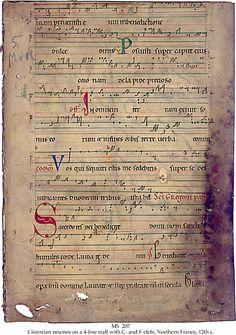 Cistercian Neumes-on Staff Ancient Music, Medieval Music, Illuminated Letters, Illuminated Manuscript, Music Manuscript, Medieval Manuscript, Early Music, Good Music, Amazing Music
