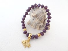 Purple Crystal Beads Bracelet,Gold Elephant Bracelet,Crystal BraceletBridesmaid Gift Bracelet,Wedding Jewelry,Elegance Bracelet,Gift for Her by sevinchjewelry on Etsy
