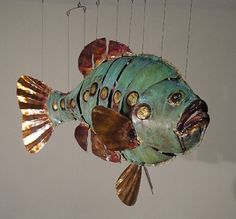 Metal Fish Sculptures | sculpture from artist Michael Chaikin, whose copper mobiles of fish ...