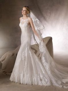 Long Trumpt Allover Lace Wedding Gown with Round Neck by La Sposa HUALCAN