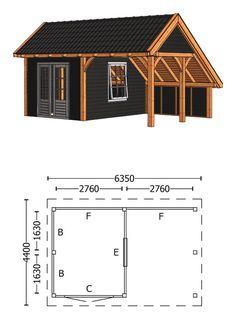 Trendhout | Kapschuur De Hoeve XL 6.35m | Combinatie 5 Garden Cabins, Garden Houses, Shed Design, Shed Storage, Garages, Malaga, Floor Plans, Home And Garden, Outdoor Structures