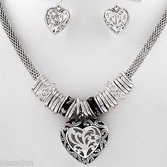 Brighton Bay Jewelry Antique Silver Tone Heart Drop Necklace and Earrings Set