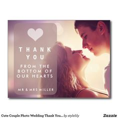 Cute Couple Photo Wedding Thank You Card Postcards - Sold, thank you to the customer in Pasadena, California. Customize these thank you wedding cards with your photograph