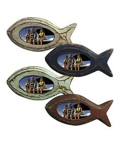 Manitoulin Island, Ontario - a cottage, a lake and great fishing (and photos) Take a look at this Wooden Fish Photo Frame Set by Grasslands Road on today! Pirate Bedroom, Shell Display, Manitoulin Island, Photo Displays, Display Photos, Wooden Fish, Cute Fish, Reclaimed Wood Projects, House Wall