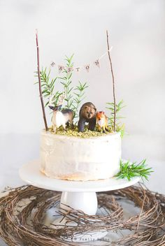 10 Tricks to a Naked Cake If you are totally intimidated by cake decorating, this simple naked cake is beautiful and forgiving. Try these decorating tips for making a naked cake. Cake Lettering, Cake Bunting, Cake Banner, Woodland Cake, Naked Cake, Forest Cake, Rustic Cake, First Birthday Cakes, Birthday Cards