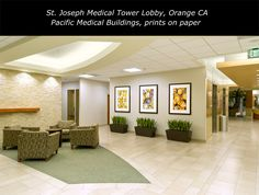 Joseph Hospital in Orange County Pacific Medical Buildings selected a series of my prints on paper for their new medical tower. Healthcare Design, St Joseph, Orange County, Buildings, Tower, Medical, Canvas Prints, Fine Art, Furniture