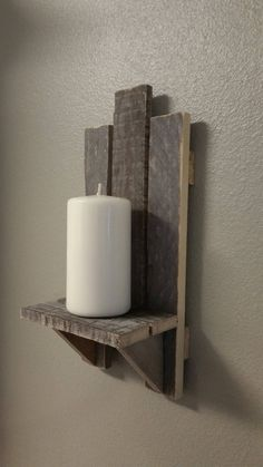 A Pair of Rustic Wood Sconces. Wood Sconce, Rustic Wall Sconces, Rustic Wood Walls, Candle Wall Sconces, Wood Wall Decor, Wall Lamps, Barn Wood, Mason Jar Candle Holders, Wooden Candle Holders