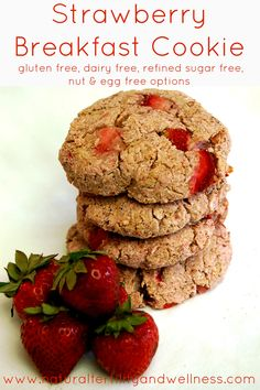 Strawberry Breakfast Cookie :: Refined Sugar Free, Gluten Free, Dairy Free with Egg and Nut Free Options