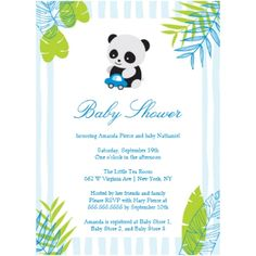 This cute baby shower invitation is a panda theme perfect for a little boy!  It features blue and green tropical leaves at each corner with a watercolor stripes background.  At the top, there is a cute boy panda playing with a car.