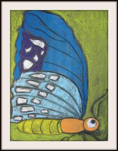 MaryMaking: Mega Butterflies, chalk pastel on black paper