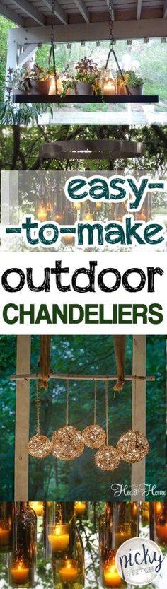 Easy-to-Make Outdoor Chandeliers| DIY Outdoor Chandelier, Outdoor Chandelier, DIY Outdoor Projects, Outdoor Projects, Outdoor Chandelier Projects, Easy to Make Outdoor Lighting Projects, Popular Pin