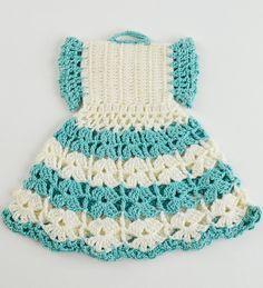 Picture of Vintage Red and Aqua Potholders Crochet Pattern Crochet Bodycon Dresses, Crochet Doll Dress, Black Crochet Dress, Crochet Baby Clothes, Crochet Thread Size 10, Crochet Hooks, Knit Crochet, Crochet Pouch, Vintage Potholders