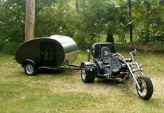 Motorcycle Camper Trailer, Diy Camper Trailer, Teardrop Trailer Plans, Travel Camper, Camping Gear, Camping Stuff, Camper Life, Small Cars, Harley Davidson