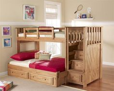 Stairway Bunk Bed | Bunk Beds with Stairs Twin Over Full.