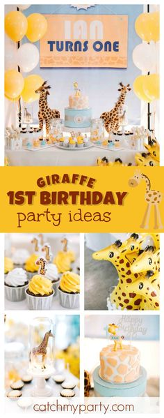 Trendy Baby Shower Themes For Girls Giraffe Safari Cakes 50 Ideas Giraffe Birthday Cakes, Giraffe Birthday Parties, 1st Birthday Boy Themes, Baby Birthday, First Birthday Parties, Birthday Ideas, Birthday Banners, Birthday Invitations, Baby Shower Giraffe