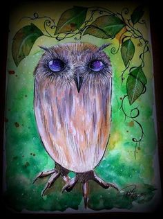 Nut Owl - Artwork by Paula Wawrzynek. 2d Media, Owl Artwork, Whimsical Owl, Moose Art, Painting, Owl Illustration, Artwork, Bird Art, Owl Painting