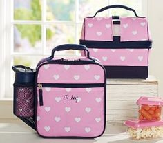 Mackenzie Pink Hearts Lunch Bags