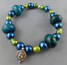 Recycle glass freshwater pearl and dyed stone. by RainbowCatParty, $13.99